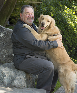 Professor Aubrey Fine with his dog, Ketzy